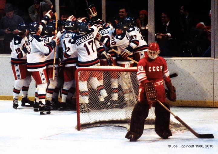 Team USA upsets the Soviets in 1980
