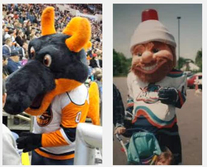Sparky and NYLES - mascots! For shame!
