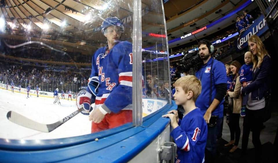 Eric Staal's family watches on during his first warmup session with the New York Rangers on February 29, 2016. (Photo Credit: Jared Silber-Getty Images)